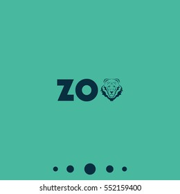 Logo for the zoo. Lion silhouette. Zoo, font, lettering.