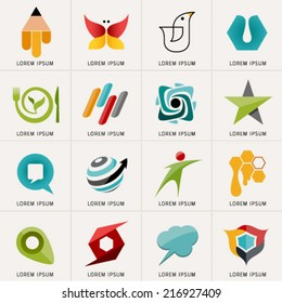 Logos and Abstract web Icons and globe vector identity symbol. Set of icons and stickers for sport , education, food and communication. Graphic design easy editable for Your design. Modern logotype.