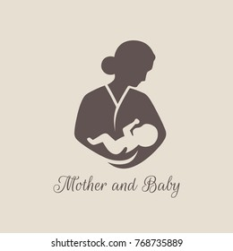 Logos of child care, Breastfeeding, motherhood and childbearing. Mother and baby.