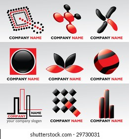 Logos and design elements / black and red / - vector