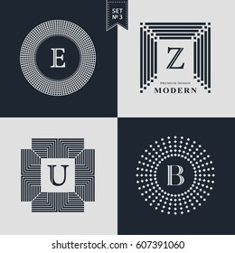 Logos Design Templates Set. Logotypes elements collection, Icons Symbols, Retro Labels, Badges, Silhouettes. Abstract logo, Letter E, Z, U, B emblems. Premium Collection. Vector illustration