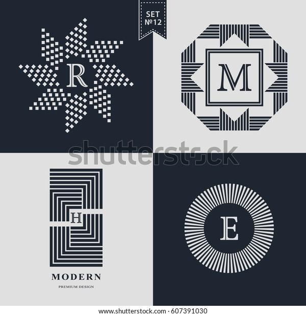 Logos Design Templates Set Logotypes Elements Stock Vector