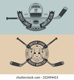 Logos for hockey team or league with mask, helmet, sticks. Tattoo style.
