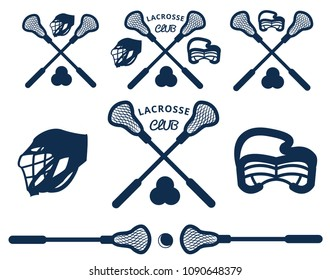 Logos or labels for lacrosse team in sport college. Lacrosse set. Modern flat cartoon style vector illustration icons. Isolated on white background. Woman and man lacrosse equipment, tools. Lacrosse.