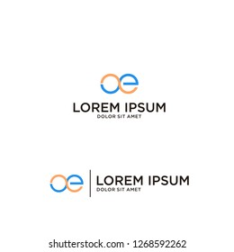 logos with line styles that form the initials OE vector illustration concept, suitable for financial, accounting, business, travel and other companies