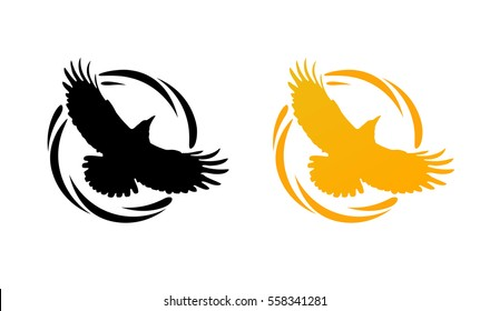 Logos in Orange and Black colors with Silhouette of Crow. Flying of Raven in Round Decorative Ring. Set of Vector Emblems isolated on White background.