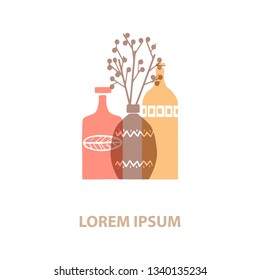 Logos with a picture of ceramic vase and wine bottles. They can be used for pottery workshop and ceramics shop. Vector Illustration.