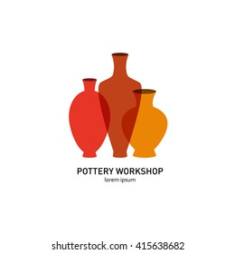 Logos with a picture of ceramic vases. They can be used for a pottery workshop and ceramics shop.