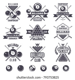 Logos set for billiard club. Billiard badge and emblem, game sport snooker illustration
