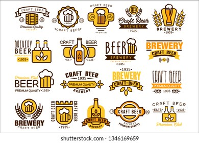 Logos set for brewing company. Vintage linear labels. Emblems with bottles, wheat branches, mugs with beer foam and ribbons. Vector design for pub, bar, brewery or tavern