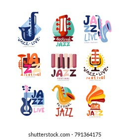 Logos set for jazz festival or live concert. Musical event labels or emblems with guitar, saxophone, retro gramophone, trumpet. Vector collection.