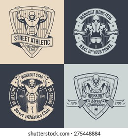 Logos street workout athletic club, gym in retro style. Posters with a muscular sportsman. Pull ups a man on emblem. Text can be replaced.