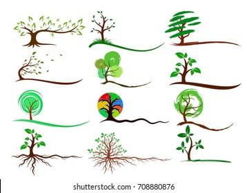 Logos of trees.
