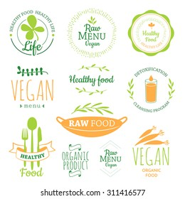 Logos with vegetarian and useful meal. Raw food diet. Healthy lifestyle and proper nutrition. Vector label. Detox logo.