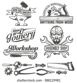 Logos with working stuff. Emblems carpentry workshop, forge, assembly shop. Worker tools. Text on a separate layer - easy to replace.