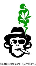Logo/sign of cool monkey in sunglasses with the hat, smoking cigar, smoke in shape marijuana. Vector illustration. eps10