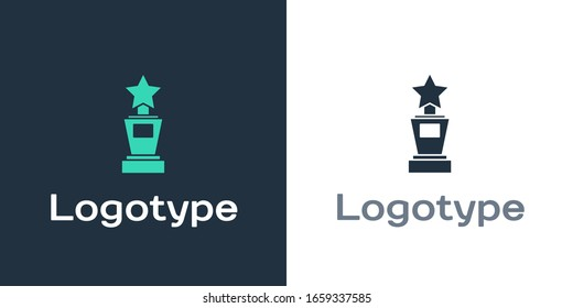 Logotype Award cup icon isolated on white background. Winner trophy symbol. Championship or competition trophy. Sports achievement sign. Logo design template element. Vector Illustration