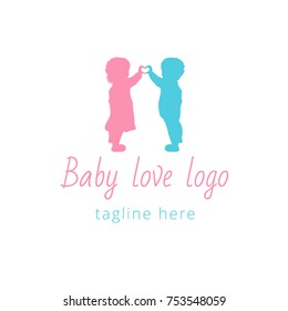Logotype baby for children's store, developing center, clothes, club, toys store, accessories, shop, happy time, kids. Logo vector illustration