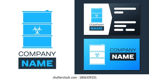 Logotype Biological hazard or biohazard barrel icon isolated on white background. Radioactive garbage emissions, danger of ecological disaster. Logo design template element. Vector.