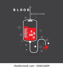 logotype blood donation, help the sick and needy. dropper with a drop of blood, on black background Vector illustration