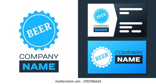 Logotype Bottle cap with beer word icon isolated on white background. Logo design template element. Vector.