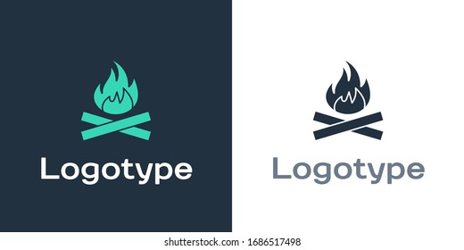 Logotype Campfire icon isolated on white background. Burning bonfire with wood. Logo design template element. Vector Illustration
