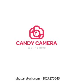 Logotype candy camera, logo vector for shop, store, art, photography, baby photo