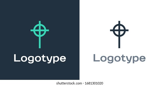 Logotype Christian cross icon isolated on white background. Church cross. Logo design template element. Vector Illustration