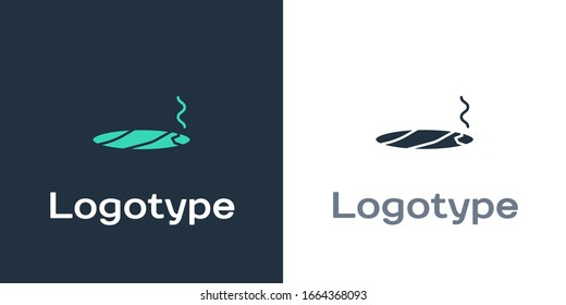 Logotype Cigar with smoke icon isolated on white background. Logo design template element. Vector Illustration