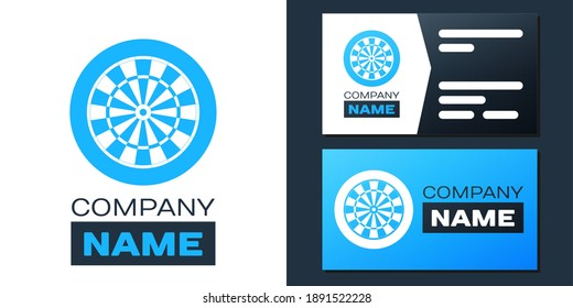 Logotype Classic darts board with twenty black and white sectors icon isolated on white background. Dart board sign. Dartboard sign. Game concept. Logo design template element. Vector.