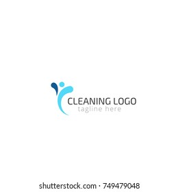 Logotype cleaning  for cleaning, home cleaning, eco-washing, home help, shop, store. Logo vector illustration