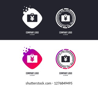 Logotype concept. Case with Yen JPY sign icon. Briefcase button. Logo design. Colorful buttons with icons. Vector