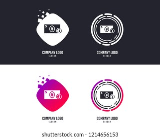 Logotype concept. Cash sign icon. Yen Money symbol. JPY Coin and paper money. Logo design. Colorful buttons with icons. Vector