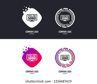 Logotype concept. Full hd widescreen tv sign icon. 1080p symbol. Logo design. Colorful buttons with icons. Vector