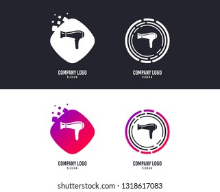 Logotype concept. Hairdryer sign icon. Hair drying symbol. Logo design. Colorful buttons with icons. Vector