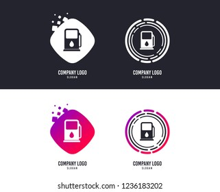 Logotype concept. Petrol or Gas station sign icon. Car fuel symbol. Logo design. Colorful buttons with icons. Vector