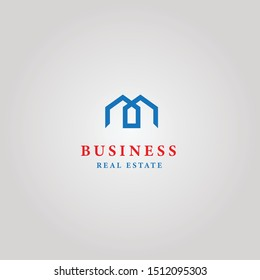 Logotype concept real estate business with blue silver and red colors