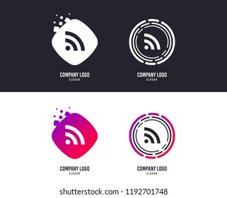 Logotype concept. RSS sign icon. RSS feed symbol. Logo design. Colorful buttons with icons. Vector