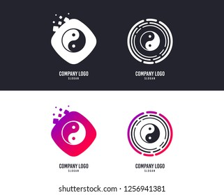 Logotype concept. Ying yang sign icon. Harmony and balance symbol. Logo design. Colorful buttons with icons. Vector