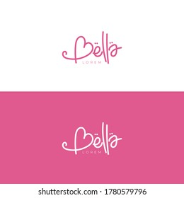 Logotype design with Bella naming with pink color for beauty or cosmetic logo