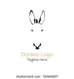 Logotype donkey head, beautiful logo vector silhouette