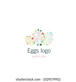 Logotype eggs. Logo polygonal, vector illustration game company, prenatal centre, easter, baby club