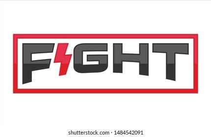 Logotype of Fight with thunder symbol. Fitness logo. Power icon.