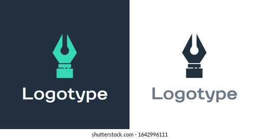 Logotype Fountain pen nib icon isolated on white background. Pen tool sign. Logo design template element. Vector Illustration