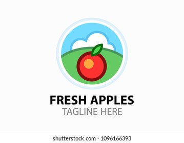 Logotype with fresh red apple for fruit shop. Round vector Emblem illustration in EPS10 isolated on white background. Logo in flat style in bright colors.