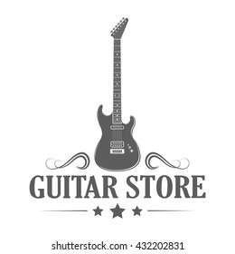 Logotype of guitar store on white background. Music shop label in retro style. Monochrome vector illustration for advertising or window signage.
