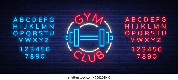 Logotype gym sign in neon style isolated vector illustration. A glowing sign, a nightly bright neon advertisement of the gym, fitness club, sports club. Editing text neon sign.