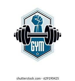 Logotype for heavyweight gym or fitness sport gymnasium, vintage style vector emblem. With barbell.