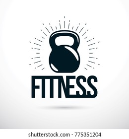 Logotype for heavyweight gym or fitness sport gymnasium, vector illustration of kettle bell. Fitness lettering.