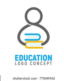 Logotype of human silhouette with stack of books in hands. Isolated logo of man, symbol of education